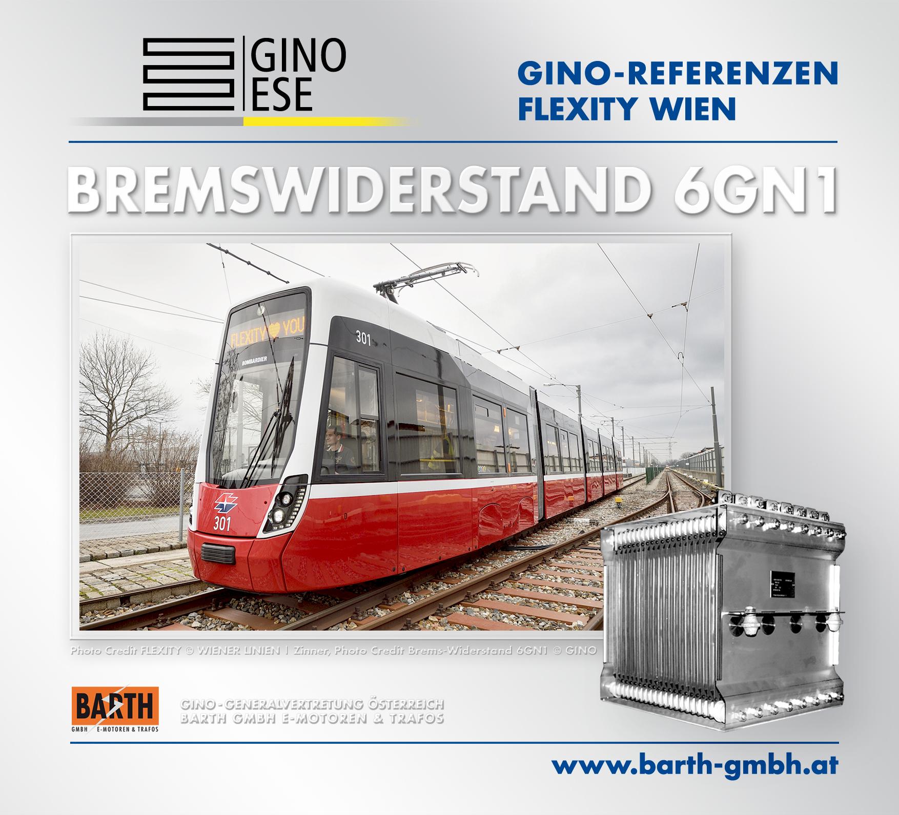 Foto: FLEXITY-Straßenbahn © Wiener Linien | Zinner / Foto: Brems-Widerstand 6GN1 © GINO AG