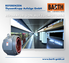 Foto: U6-Bahnsteig der U-Bahn-Station Floridsdorf © Wiener Linien | Zinner / Foto: Aufzugsmotor (Stator) U-Bahn-Station Floridsdorf © BARTH GMBH